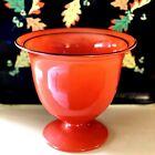 Vintage Halloween Orange & Black Czech Bohemian Glass Tango Pedestal Vase Bowl