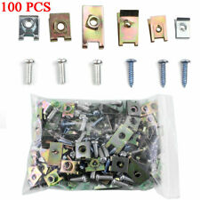 100X Mixed Car Fastener Fixed Screw U Type Gasket Clip For Car Door/Panel/Fender