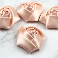 "5-100Pcs DIY 2""Satin Ribbon Rose Flower Craft Wedding Appliques bow sewing Decor"