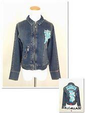 ECKO RED Womens Cropped Jean Denim Jacket XL RUN SMALL M Embroidered Rhinstone