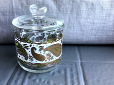 Mcm Georges Briard Glass Condiment Jar w/Lid Paisley Pattern in Gold Green White