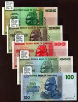 "Zimbabwe ""$100-Trillion Series"" (2008) 3ES 5-Pc UNC Notes {pakimProPAK} VA168b.4"