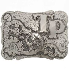 Western Style Custom Silver Belt Buckle Silver or Gold Initials Numerals