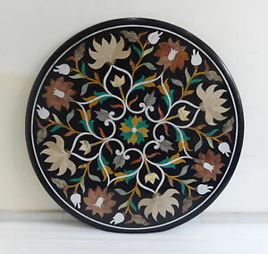 """36"""" Black Marble Dining Table Top Inlay  Mosaic Decor beautiful Scagliola Arts"""