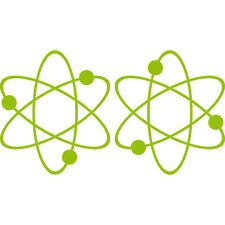 2 Aufkleber Tattoo grün 17cm big bang theory Atom ipad Auto Decal Deko Folie
