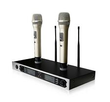 UHF Pro Dual Wireless Cordless Mike Microphone Mic System Colorful LCD Display