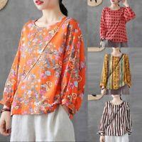 ZANZEA Women's Round Neck Casual Oversize Blouse Tops Floral Print Shirt Jumper