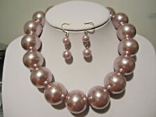 Brown Big Faux Pearl Necklace Earring Set