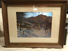 Vintage Foil Wall Art By Donald Greig ~ Mountain Scene ~ Artist Signed