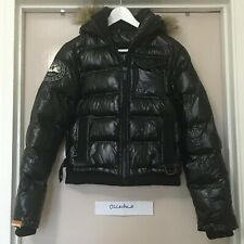 Women's Superdry Jpn Faux Fur Short Puffer Jacket Coat Black Size Small