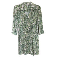 Cabi Leaf Print Green Faux Wrap Dress Sz Small