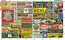 NH072 DAVE'S DECALS 1/2 Set N SCALE MID CENTURY SIGNS GROCERY SODA CIGAR SHOES