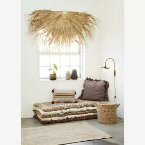 Half Round Dried Grass Wall Hanging, Semicircle Rustic Boho Tropical Decoration