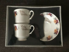 Vintage Royal Sutherland Ruby Wedding Cups & Saucers Fine Bone China Boxed