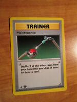 NM 1st edition Pokemon MAINTENANCE Card BASE Set 83/102 First ed Shadowless WOTC