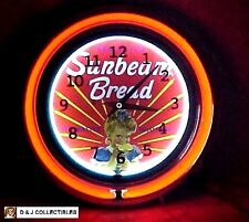 """Sunbeam Bread 15""""Double Neon Wall Clock, Store, Diner Sign"""
