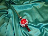 ~ alte Christbaumspitze Glas rot silber Reflexkugel Weihnachtsbaumspitze Vintage