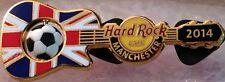 Hard Rock Cafe MANCHESTER 2014 Soccer Flag GUITAR Series PIN Ball Spins #76845