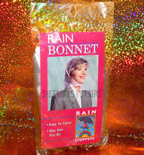 VINTAGE RAIN BONNET W/ VISOR sealed rain hood cover cap clear/white One Size 90s