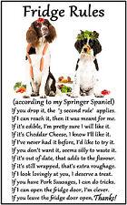 """Springer Spaniel Dog Gift - Large Fridge Rules flexible Magnet 6"""" x 4"""""""