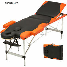 Aluminum 3 Fold Portable Massage Table Facial SPA Bed Tattoo w/Free Carry Case