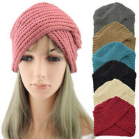 Girl Bohemian Cross Knitted Cap Turban Head Wrap Solid Crochet Muslim Hat Winter
