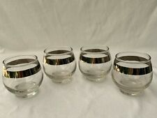 Four (4) Vintage Dorothy Thorpe 4 oz Footed Roly Poly Glasses
