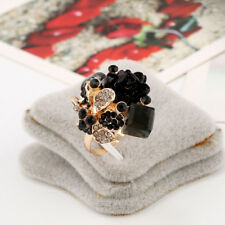 Women's Flower Shaped Ring Crystal Rhinestone Adjustable Gorgeous Party Rings