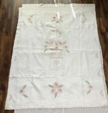 """80x64"""" Pink Green White Handmade Flower Basket Look Quilt from Pre-WWII Illinois"""