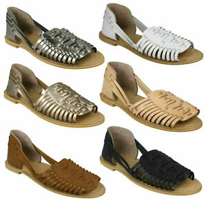 F0R0145 LADIES LEATHER COLLECTION SLIP ON OPEN TOE WEAVE FLAT SUMMER SANDALS