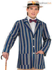 Blue Boater Jacket Mens Fancy Dress Costume Roaring 1920s Vitorian Outfit