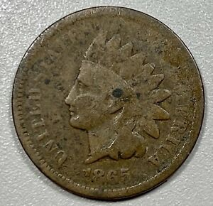 1865 Indian Head Cent 1C Penny