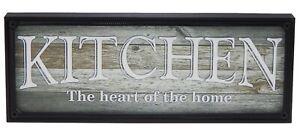 Kitchen Heart of Home Farmhouse Sign Shelf Sitter Rustic Wall Art Decor Print