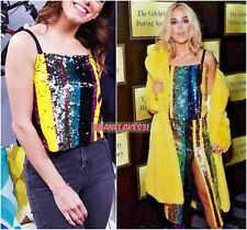 BLOGGERS FAV!!! ZARA MULTICOLOURED SEQUINNED STRAPPY TOP SIZE S UK 8 10