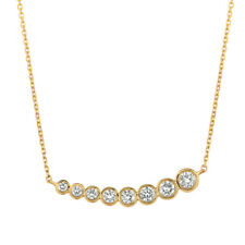 1.00 Carat Natural Diamond Bezel Necklace Pendant 14K Yello Gold G SI 18'' chain