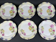 Set Of 6 P K Silesia China Dessert Plates Pink & Yellow Roses