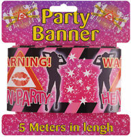 Hen Party Banner - 5m x 7.5cm - Party Decoration Printed Pink Night