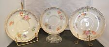 Set of 3 Thomas Bavaria Saucers  White W/Gold Trim and Colorful Flowers