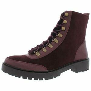 Lucky Brand Womens Ilianna Leather Wool Combat Boots, Raisin Suede, Size 11.0