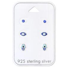 925 Sterling Silver Hamsa Hand Evil Eye Mati Nazar Crystal 3 Set Stud Earrings