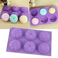 Purple 6 Cavity Flower Shaped Silicone Soap Candle DIY Mould Handmade C0N7 I1W6