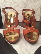 BERNY DEMORE Brown Leather Strappy Platform Stiletto SANDALS High Heels 39 1/2
