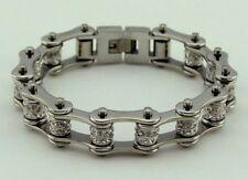 Womens Stainless Steel W Double Crystals Biker Chain Bracelet Silver/Silver