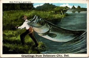 Large Fish Frog Man Bass Fishing Greetings from Delaware City DE 6757 Postcard