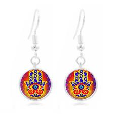Hamsa Hand Photo Tibet Silver Dome Photo 16MM Glass Cabochon Long Earrings #225