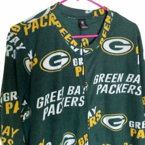NFL Green Bay Packers Footed One Piece Fleece Pajamas Unisex L Zip Front Pockets