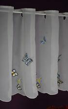 Scheibengardine Schmetterling Bistrogardine Kurzstore Voile 50/120 cm weiß-blau