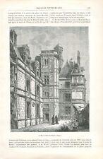 l'Hôtel de Pierre de Pincé ou des Ducs d'Anjou à Angers  GRAVURE 1887