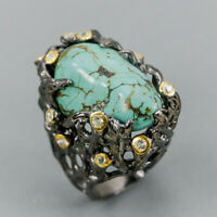 Fine Art Jewelry Natural Turquoise 925 Sterling Silver Ring Size 7.5/R123697