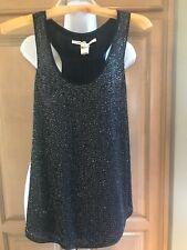 Diane von Furstenberg dressy Black beaded/sequin top  s4